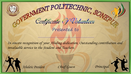 certificate of volunteers